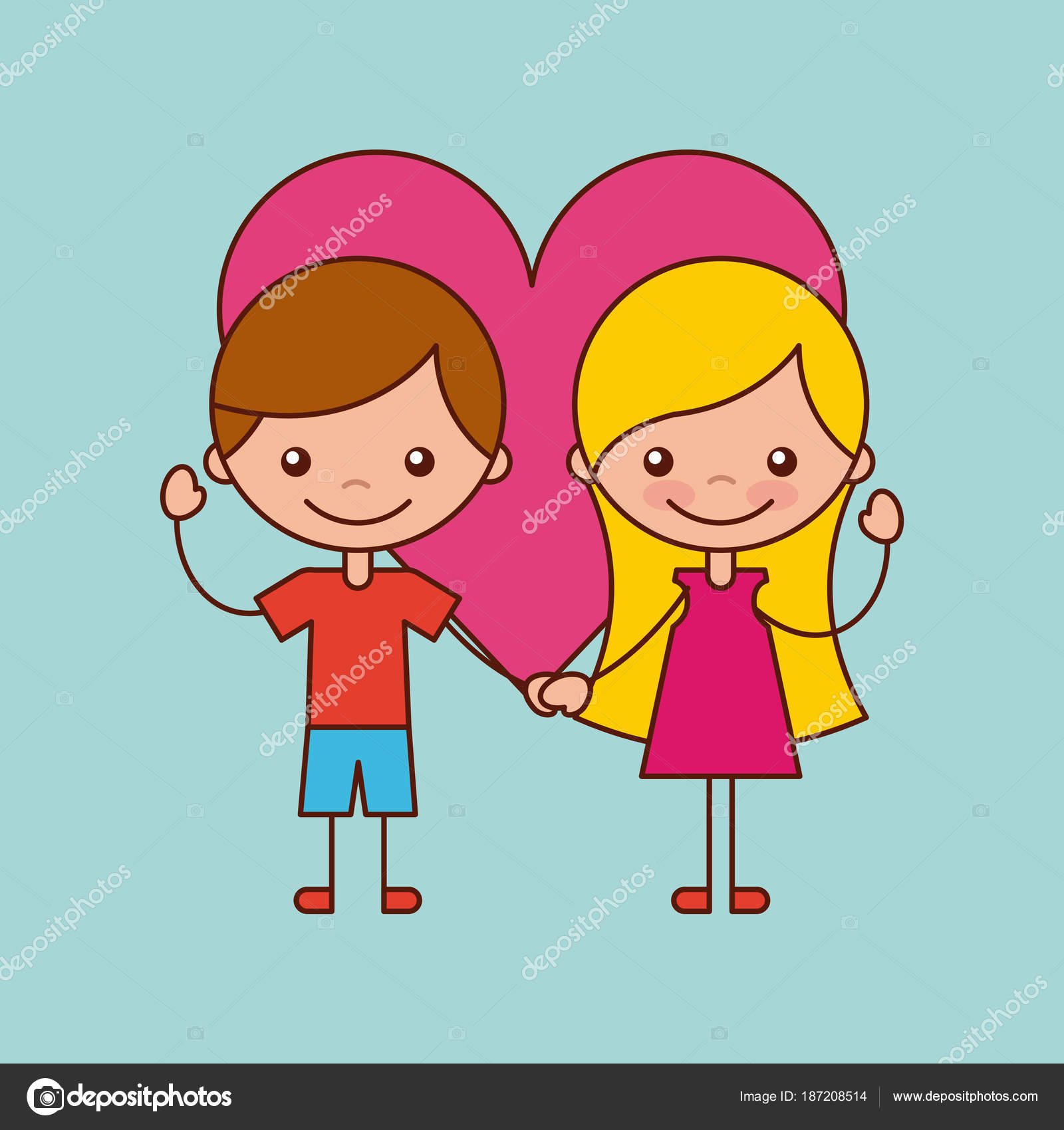 Caricatura De Amor Y Amistad Niños Amistad Feliz Vector De Stock