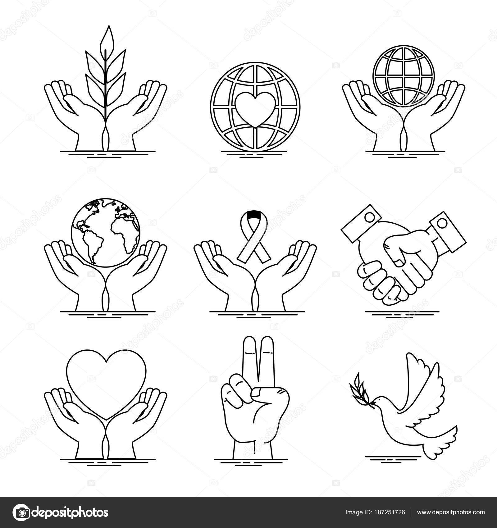 Peace And Love Icon Set Design Stock Vector C Yupiramos 187251726