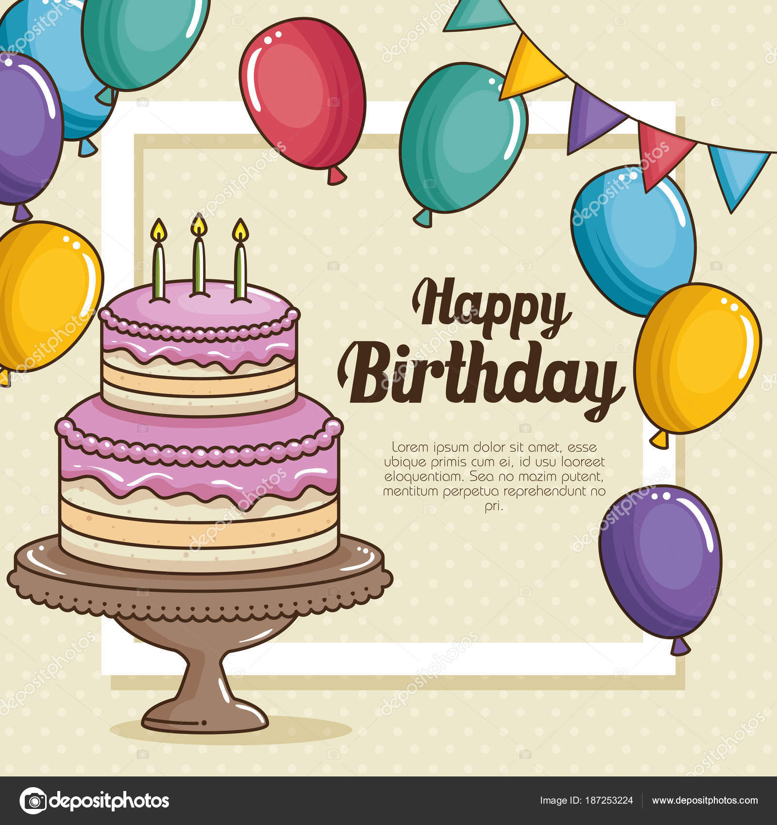Cake And Balloons Of Happy Birthday Celebration Theme Vector Illustration By Yupiramos