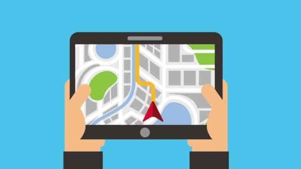 hands holding tablet map navigation route destination
