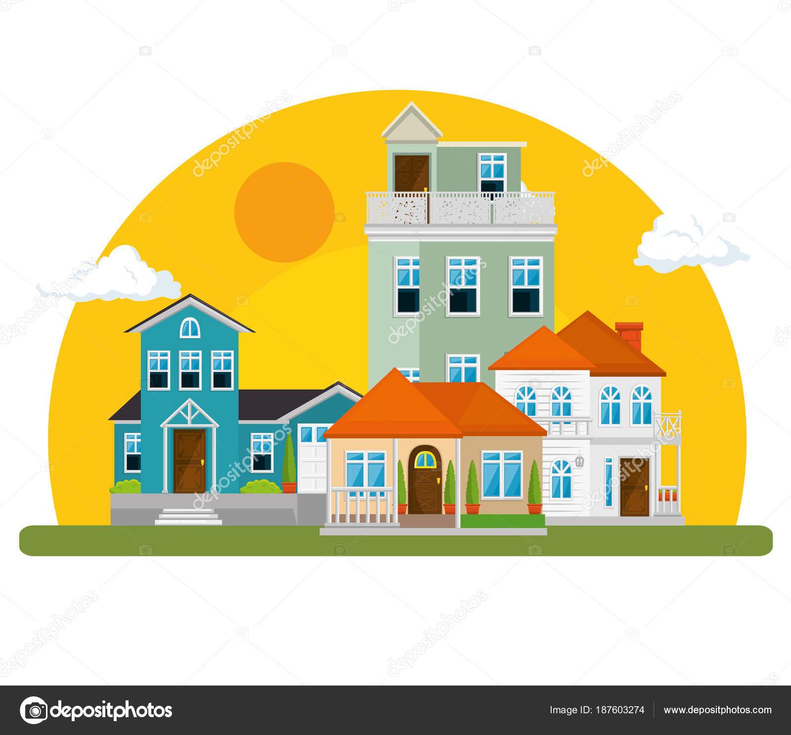 bunte Häuser in Nachbarschaft — Stockvektor © yupiramos #187603274