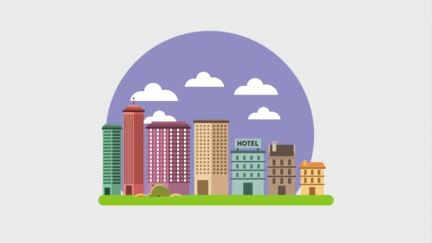 budování strom krajina kreslené moderní mrakodrapy města hotel