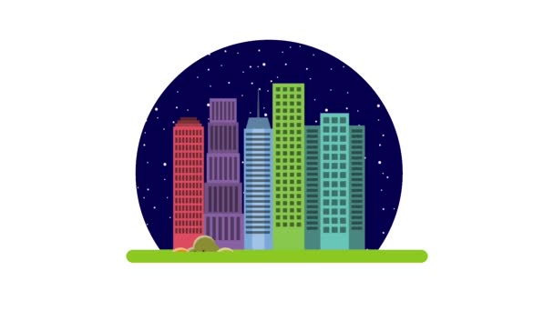 cartoon city buildings night and morning day