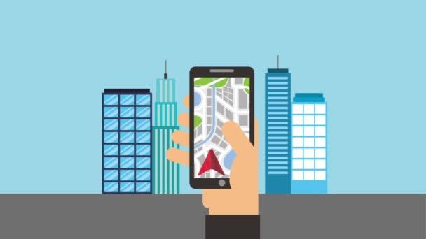 hand with mobile phone gps navigation arrow destination city