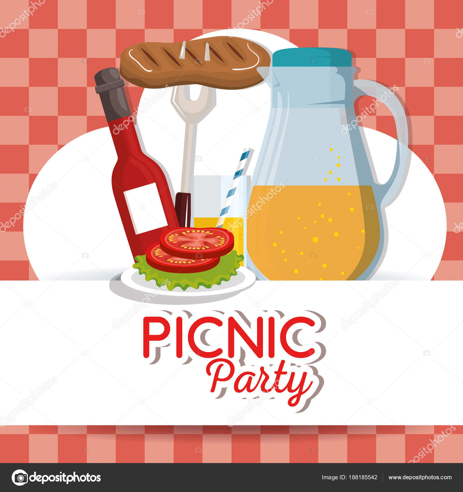 Picnic party invitation set icons stock vector yupiramos 188185542 picnic party invitation set icons stock vector stopboris Images