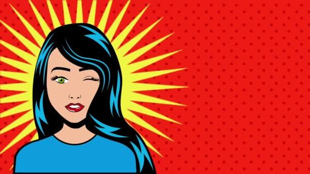 žena tvář pop-art