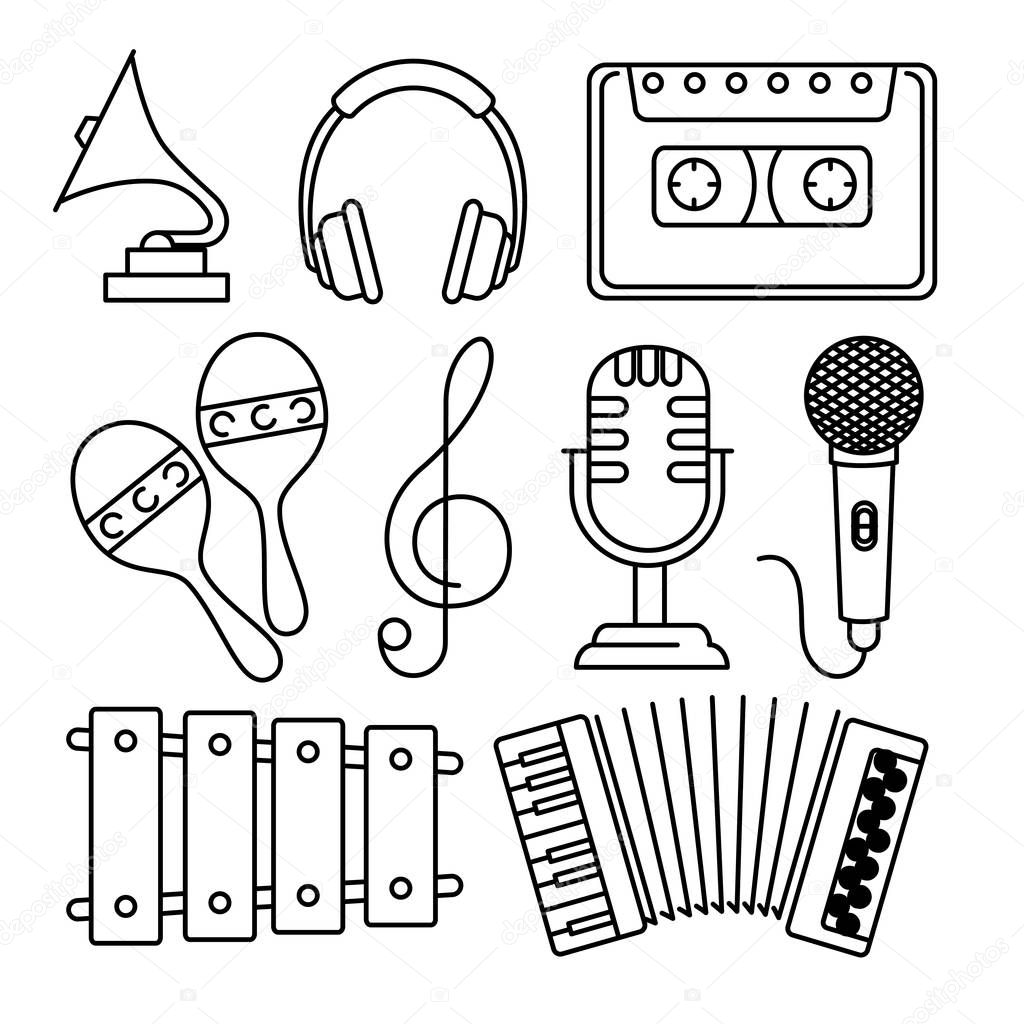 tropical instruments set icons