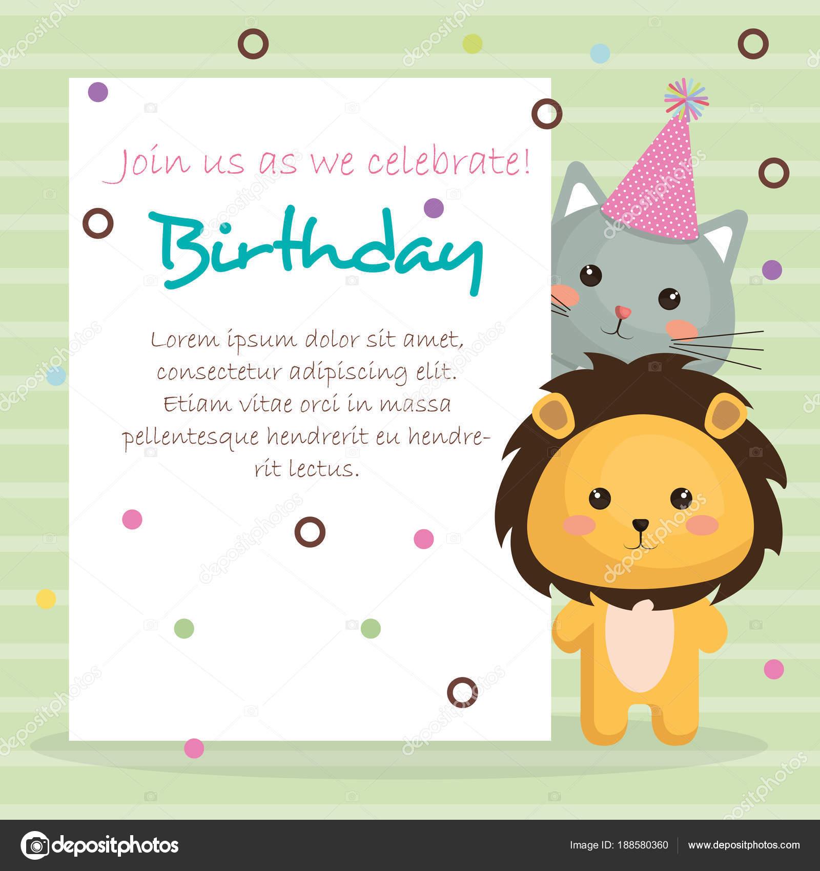 Cartolina Di Buon Compleanno Con Teneri Animali Vettoriali Stock