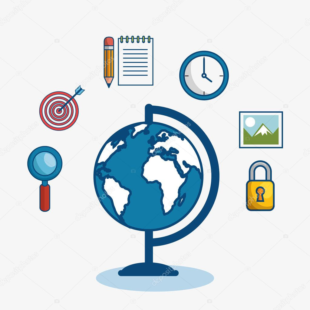 Globe surrounded by objects icon