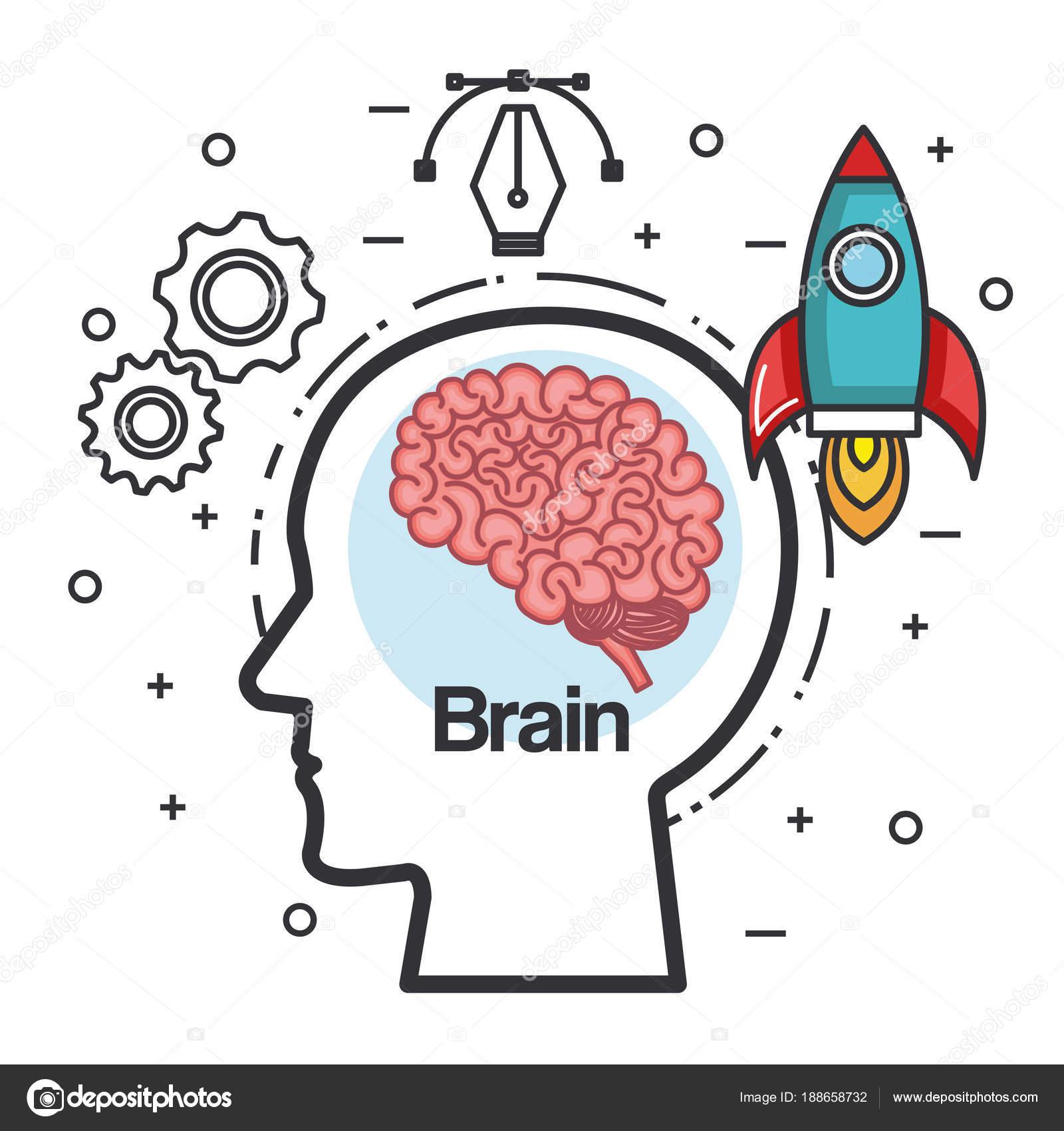 cabeza silueta cohete idea piensa en poder del cerebro — Vector de ...