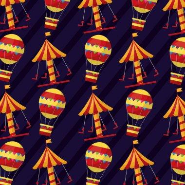 Carnival carousel air balloon funny pattern vector illustration stock vector
