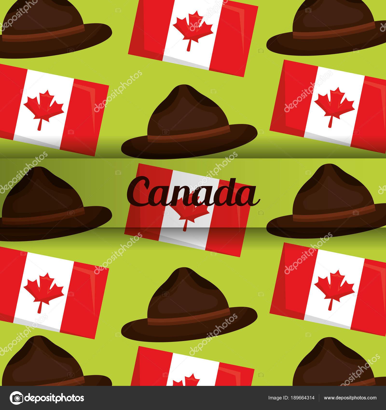 Bandera y Canadá fondo sombrero policía vector ilustración — Vector de  yupiramos ed4b1691430