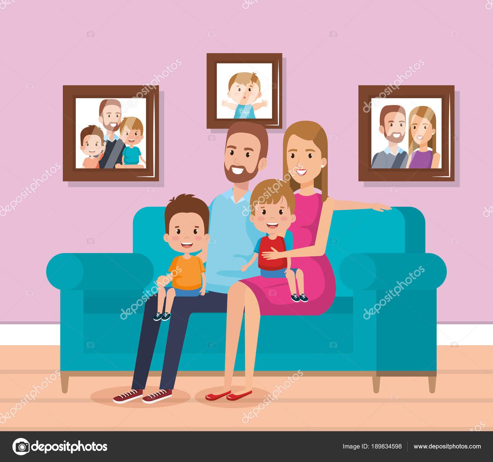 famiglia sveglia felice i caratteri di soggiorno — Vettoriali Stock ...