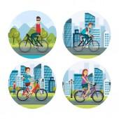 lidé v kole zdravého životního stylu