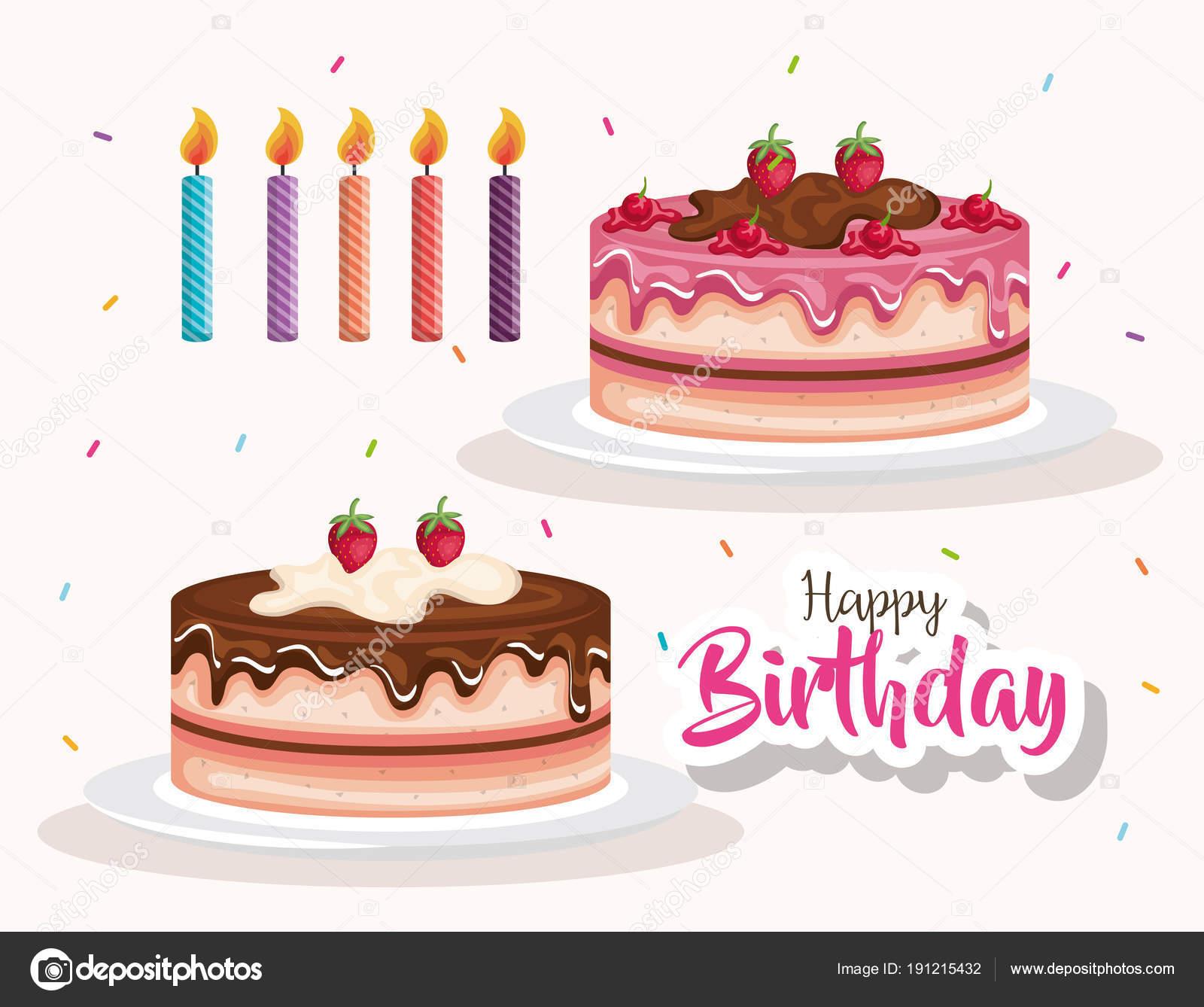 Scheda Di Celebrazione Di Torta E Candele Di Buon Compleanno