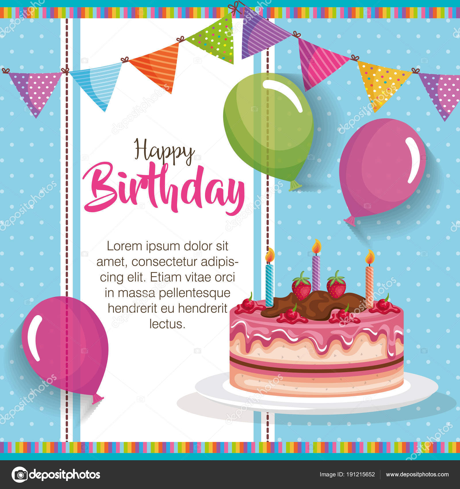 Happy Birthday Cake With Balloons Air Celebration Card Stock