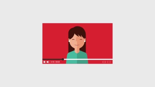 cartoon woman video with speech bubble