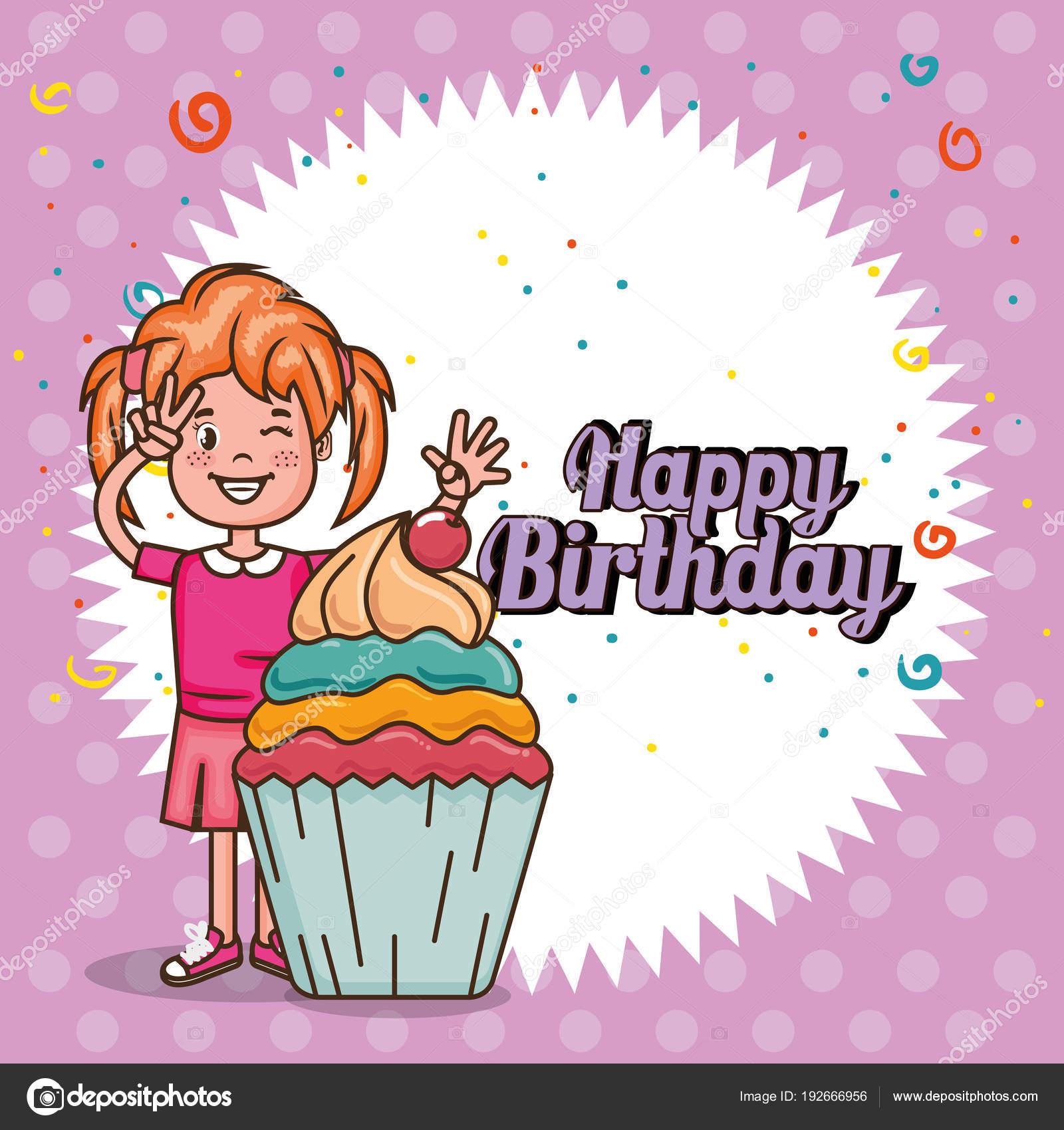 Scheda Di Buon Compleanno Con La Bambina Vettoriali Stock
