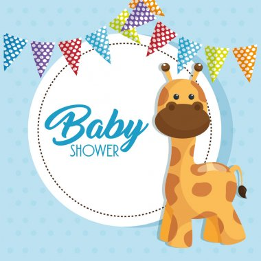 baby shower card with cute giraffe