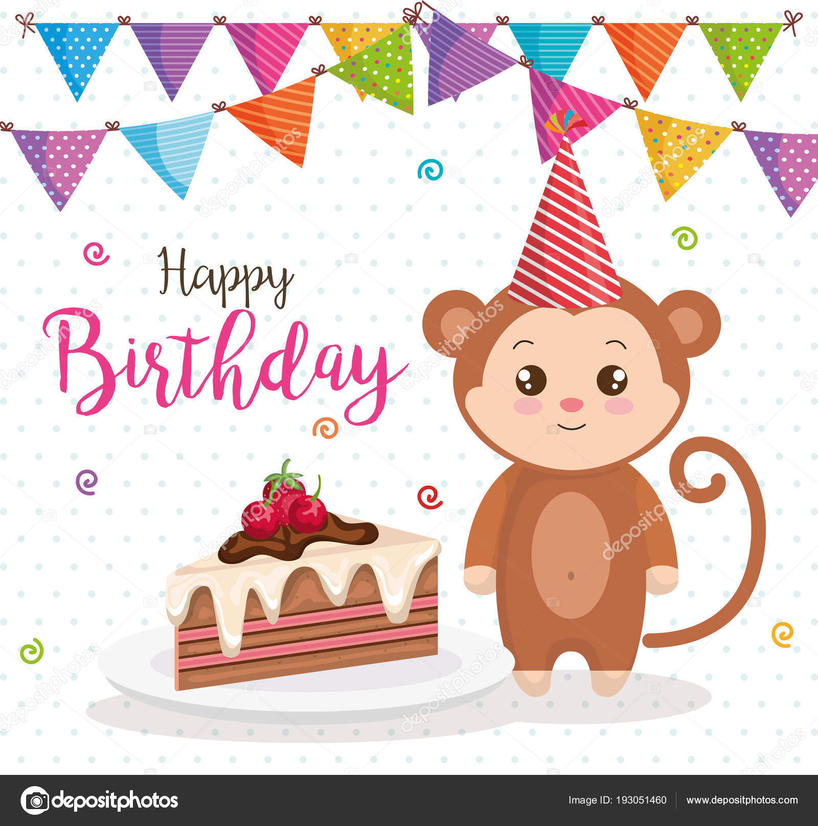 Happy Birthday Card With Monkey Stock Vector
