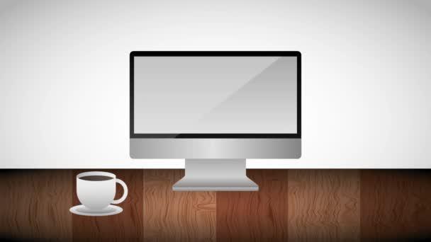 Monitorpapier auf dem Bildschirm Aktentasche heiße Kaffeetasse in Holztisch