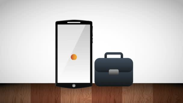Smartphone und Birne Idee Innovation Aktentasche business