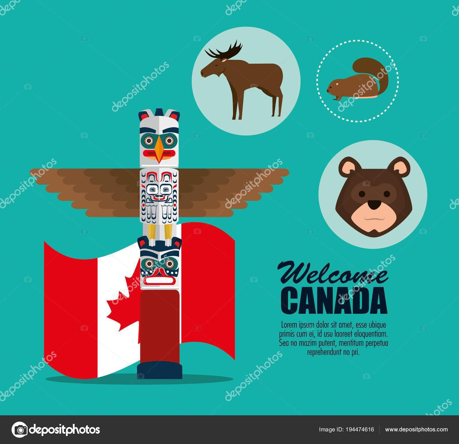 Canadian Culture Set Icons Stock Vector C Yupiramos 194474616