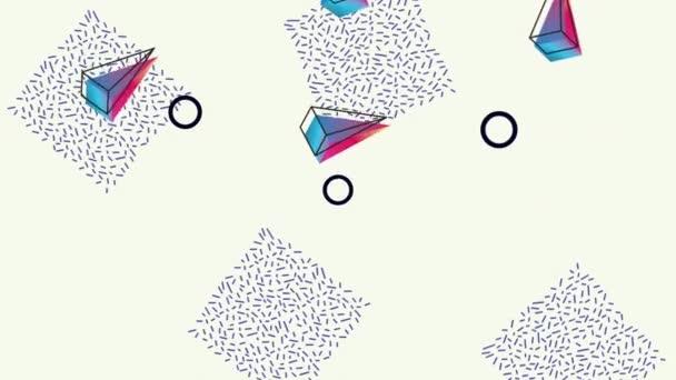 színek vonalak és geometriai alakok fehér háttér animáció