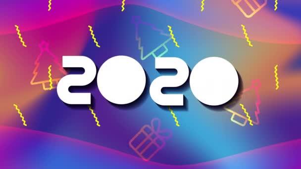 barevné linie a animace geometrických obrazů s rokem 2020