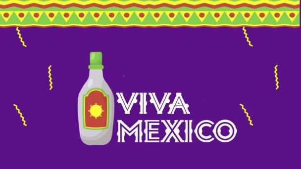 Viva Mexico Animation mit Tequila-Flasche