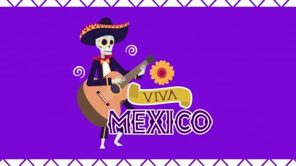viva Mexico Animation mit Totenkopf-Mariachi auf der Gitarre