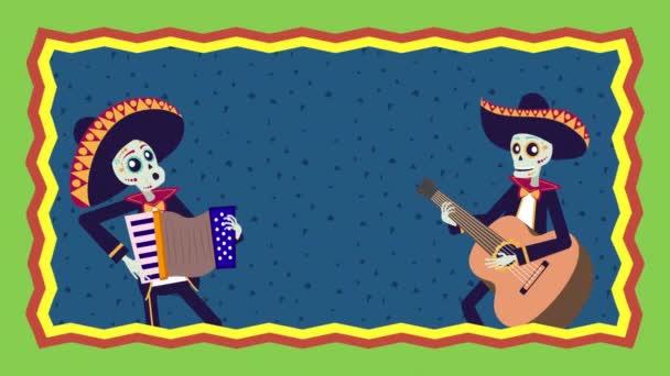 Viva Mexico Animation mit Totenköpfen Mariachis spielen Gitarre und Akkordeon
