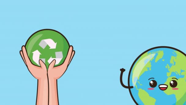 eco friendly environmental animation with earth character and recycle symbol