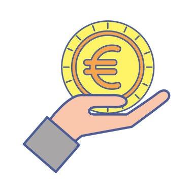 hand lifting money coin euro