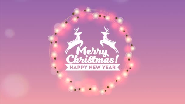 happy merry christmas card with lights colors bulbs and deers