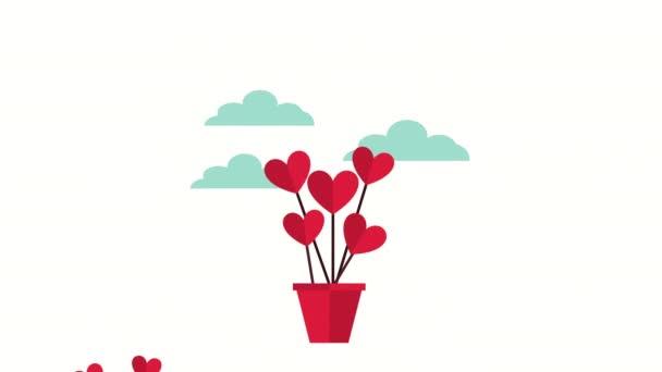 valentinky karta s láskou srdce v keramických hrnců plovoucí
