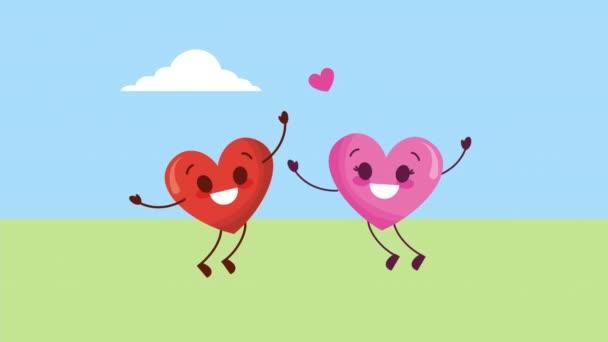 valentinky karta s láskou pár srdcí v poli znaky
