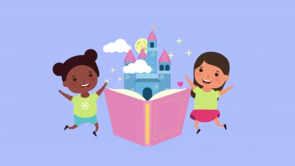 little interracial girls with fairytale book and castle