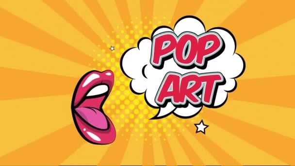 Ausdruck Sprechblase mit Mund Pop Art Stil