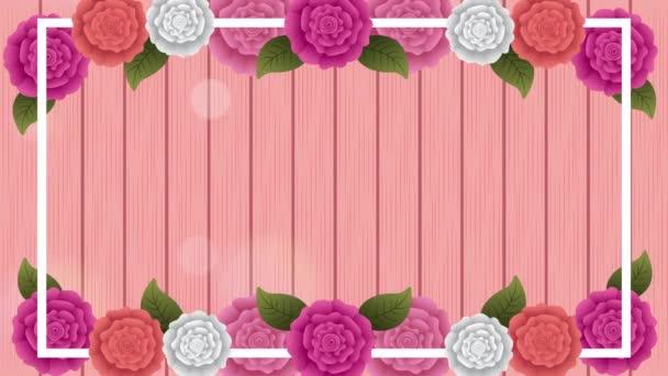 schöner Rosengarten mit quadratischem Rand