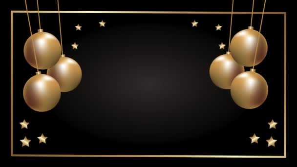 merry christmas golden card with balls hanging