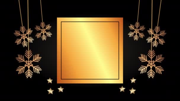merry christmas golden card with snowflakes