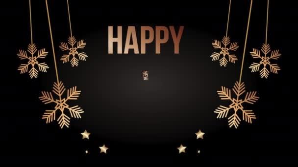 Boldog új évet arany betűk hópelyhekkel