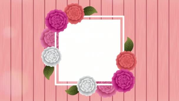 quadratischer Rahmen mit schönem Rosengarten