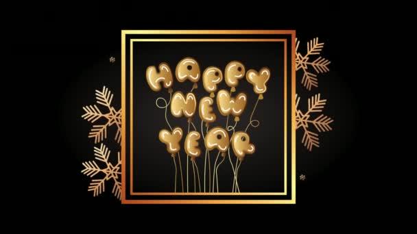 šťastný nový rok zlaté písmo se sněhovými vločkami