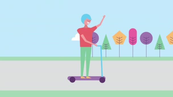 Junger Mann mit Skateboard-Charakter