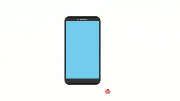 prasátko s bankovkami a mincemi v chytrém telefonu