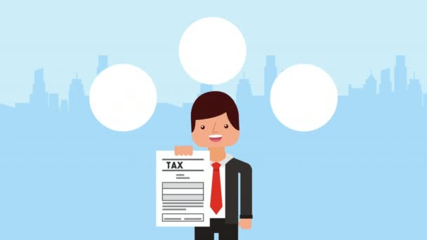 businessman with tax receipt and icons