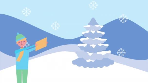 zimní sněhová scéna s pár a borovice