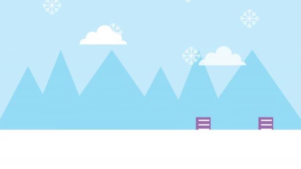 zimní sněhová scéna s dívkami a budovami